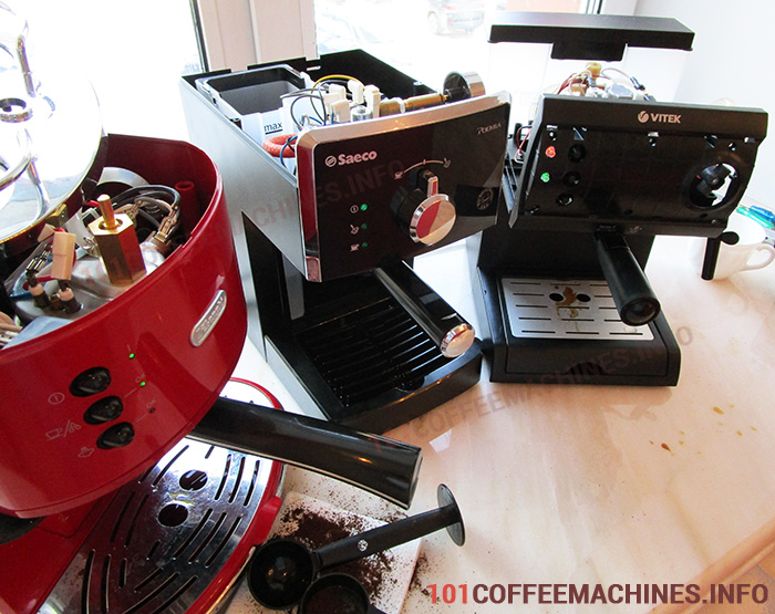 Disassembled coffee makers