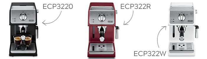Delonghi ECP3220 , ECP 3220R (red) and ECP3220W (white)