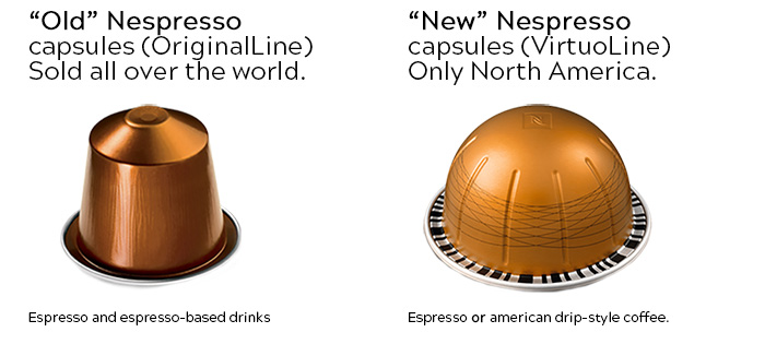 Nespresso new (VirtuoLine) and old (OriginalLine) pods/capsules