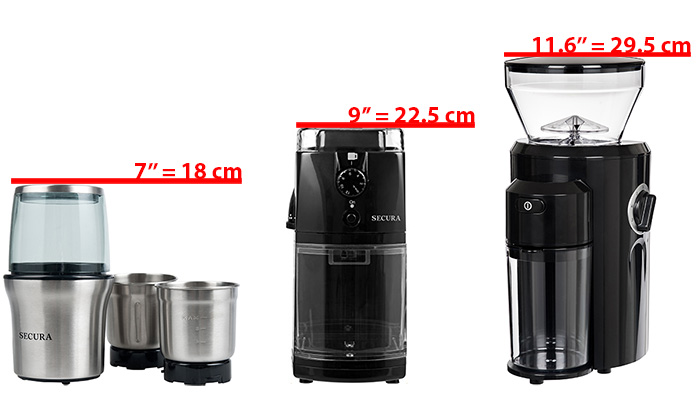 Secura grinders compared by height: Secura SP7412 vs SCG-903B vs CBG-018