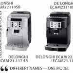 Different names - one model (delonghi 22100 vs 22.110 vs 21.117 vs 21.116)