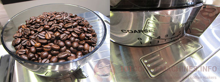 Integrated coffee bean grinder of Delonghi EC9335 La Specialista