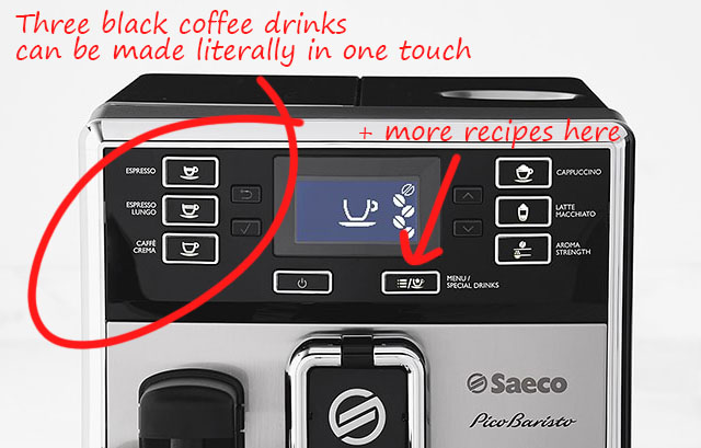 control panels special drinks menu on saeco Picobaristo HD8927
